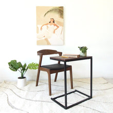 Load image into Gallery viewer, Walnut and Black Sofa Desk Table