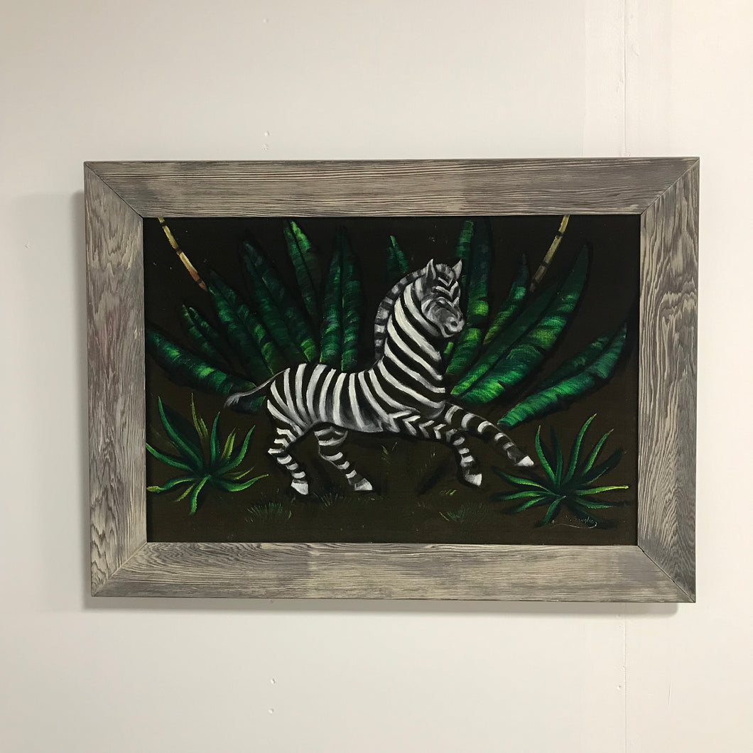 Zebra jungle oil on velvet painting signed l