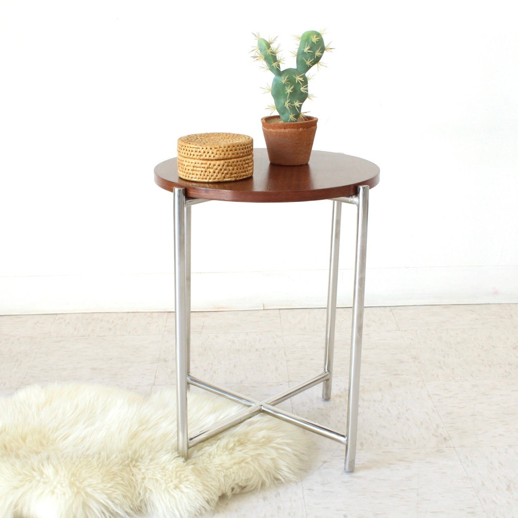 Walnut & Chrome Side Table