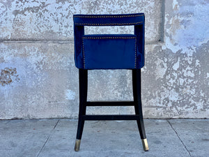 Blue Velvet Counter Stool