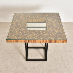 Modern Square Wood Mosaic Dining Table