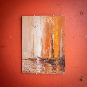1970's Nautical Oil Painting by L Ovalle