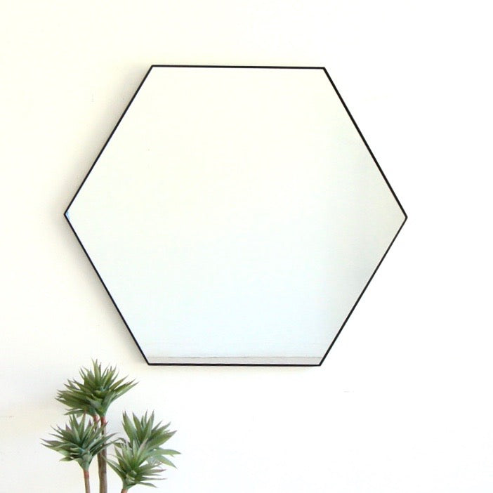 Black Hexagon Framed Mirror