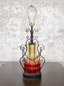 1970's Wrought Iron and Glass Lamp