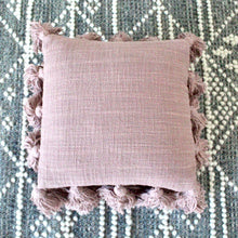 Load image into Gallery viewer, Pink Pillow with Tassels