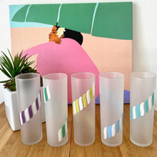 Load image into Gallery viewer, Set of Five Cool Poolside Frosted Highball Glasses