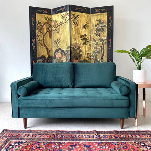 """Mimi"" Rich Green Velvet Loveseat"