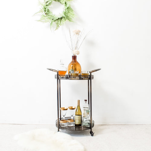 Blackish Bronze Round Cocktail Cart