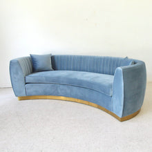Load image into Gallery viewer, Curved Tuxedo Club Sofa in Dusty Blue