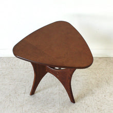 Load image into Gallery viewer, Mid Century Style Walnut Triangle Side Table