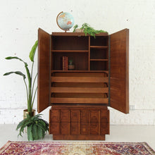 Load image into Gallery viewer, 1970's Brutalist Highboy Armoire