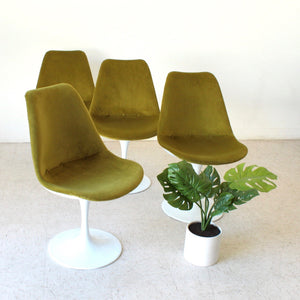 Olive Green Tulip Chair Newly Upholstered