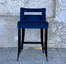 Load image into Gallery viewer, Blue Velvet Stool