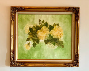Original  Oil on Canvas Roses with Gold Leaf Frame, Signed Jandi