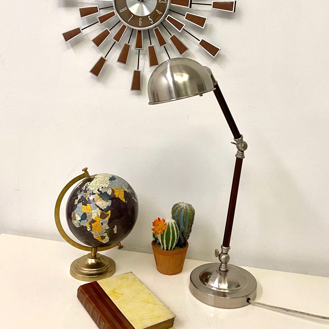 Wood and Chrome Lamp