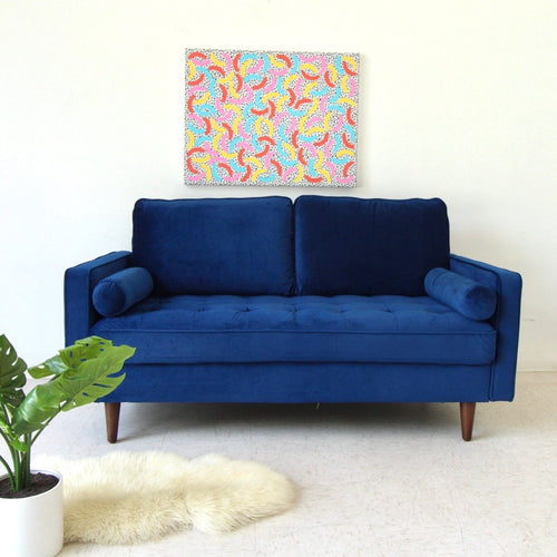 """Mimi"" Deep Blue Velvet Loveseat"