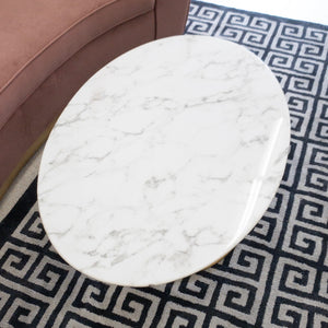 "Daisy Faux Marble 42"" Oval Coffee Table"