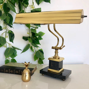 Brass Desk Lamp with Chunky Marble Base
