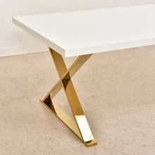 Load image into Gallery viewer, Brass Legs White Dining Table