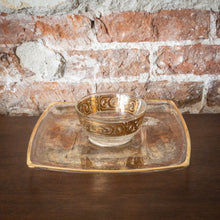 Load image into Gallery viewer, Glass & Gold Cup and Serving Tray