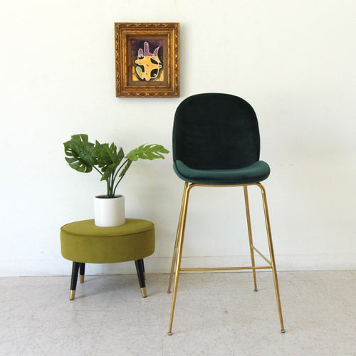 """Serena"" Dark Green Brass Barstool"