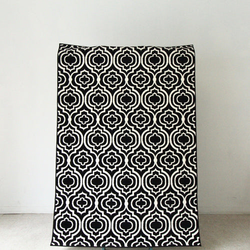 Moroccan Black and White Modern Rug
