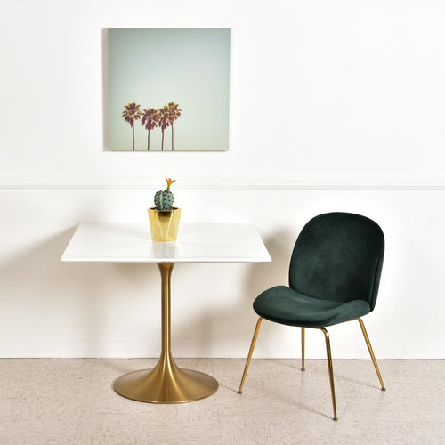 Square Brass Base Dining Table
