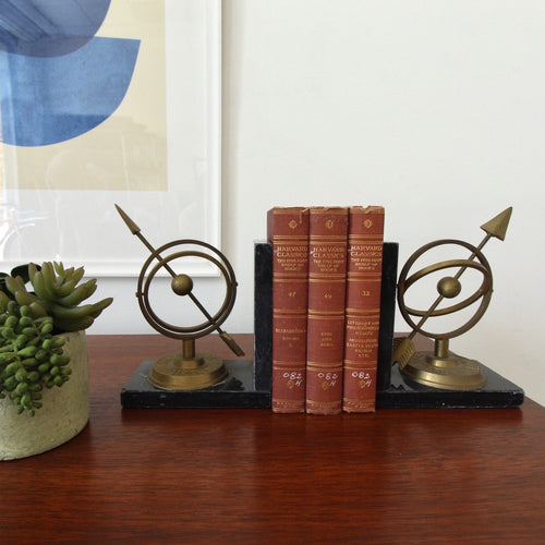 Sundial Brass and Marble Bookends