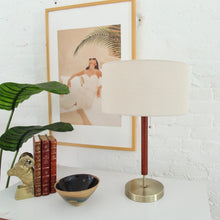 Load image into Gallery viewer, Sleek Walnut and Gold Table Lamp