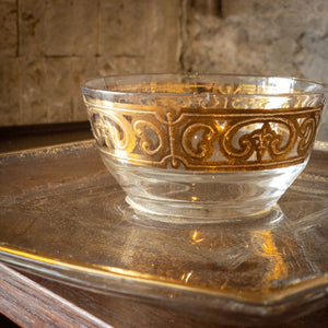 Glass & Gold Cup and Serving Tray