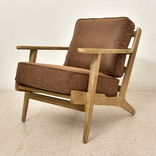 "Solid ""Scandavia"" Oak Vegan Leather Lounge Chair"