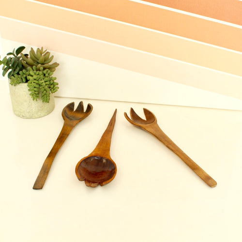 3 Piece Vintage Large Wood Utensils
