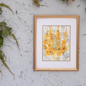 Vintage Original Watercolor Flowers Gold Abstract
