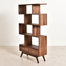 Load image into Gallery viewer, Natural Walnut Isabel Shelf with Bottom Drawers