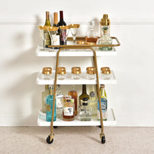"Load image into Gallery viewer, ""Tabatha"" White and Gold 3 Tier Barcart"