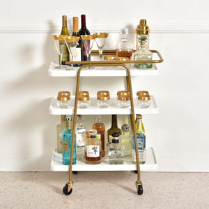 """Tabatha"" White and Gold 3 Tier Barcart"