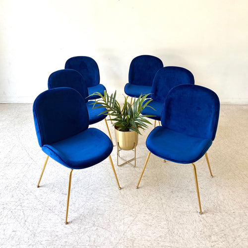 Claire Deep Blue Velvet Clam Chair with Gold Legs