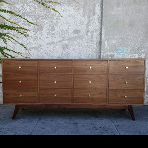 All American Walnut 12 Drawer Dresser Chest of Drawers