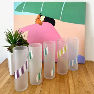 Set of Five Cool Poolside Frosted Highball Glasses