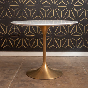 "The 'Mila' White & Gold Tulip Table (35""D)"