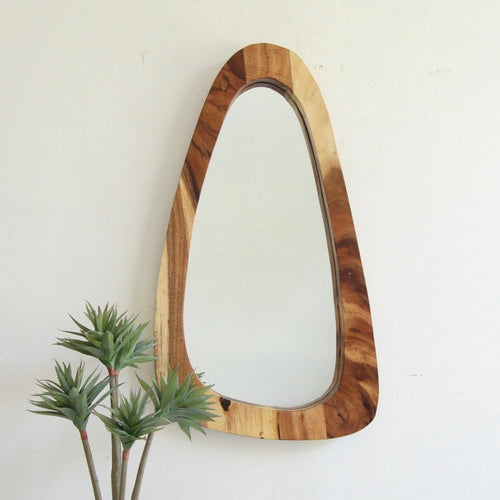 Large Solid Recycled Teak Organic Shaped Mirror