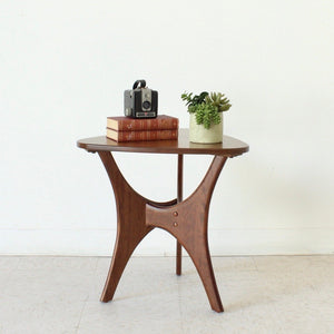 Mid Century Style Walnut Triangle Side Table