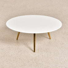 Load image into Gallery viewer, White Top Brass Coffee Table