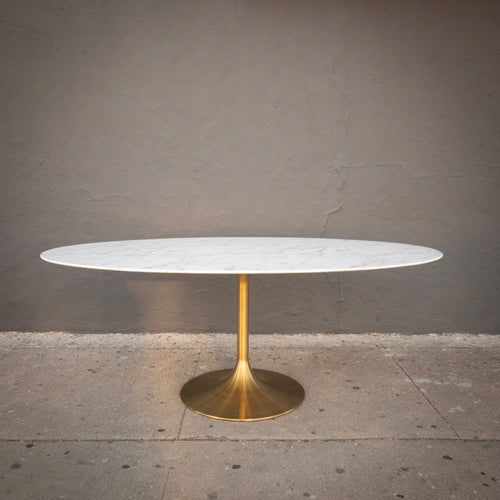 Oval Tulip Table with Gold Base (78L)