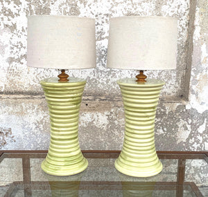 High end tall  yellow Italian table lamp