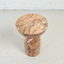 Load image into Gallery viewer, Pink Faux Marble Pedestal Table