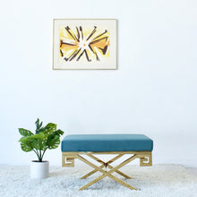 Load image into Gallery viewer, Seabreeze Blue Velvet Bench