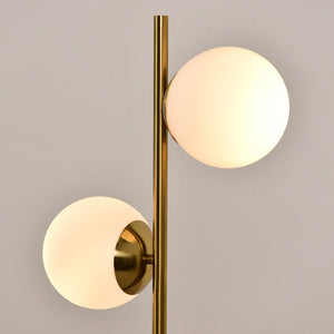 Brass Double Globe Floor Lamp