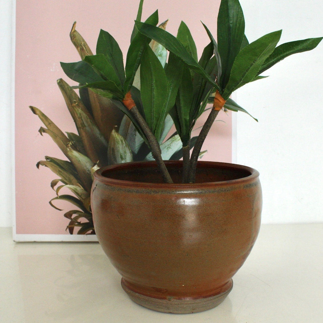 Burnt orange vintage planter