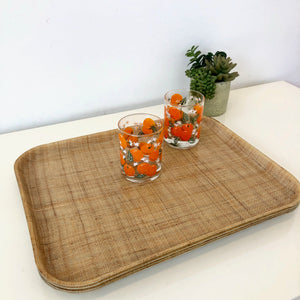 Rattan Tiki trays- set of 4